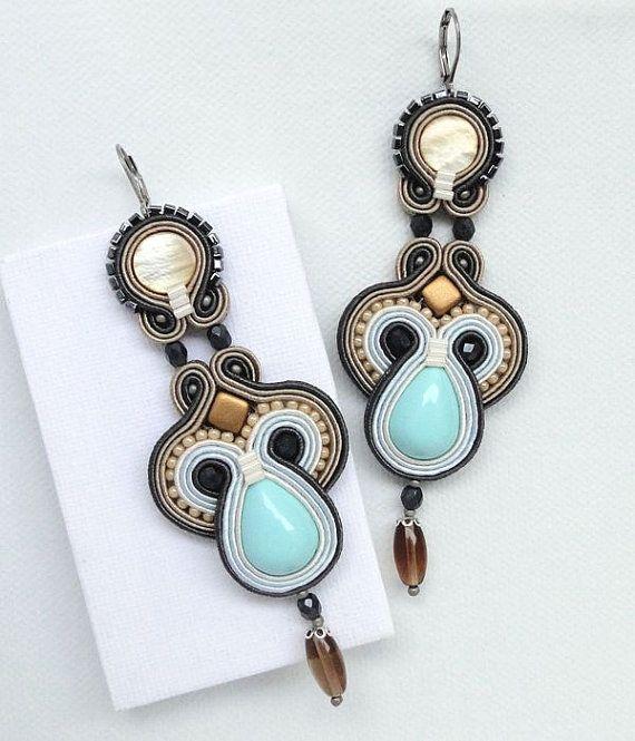 soutache earrings blue chandelier earrings very long