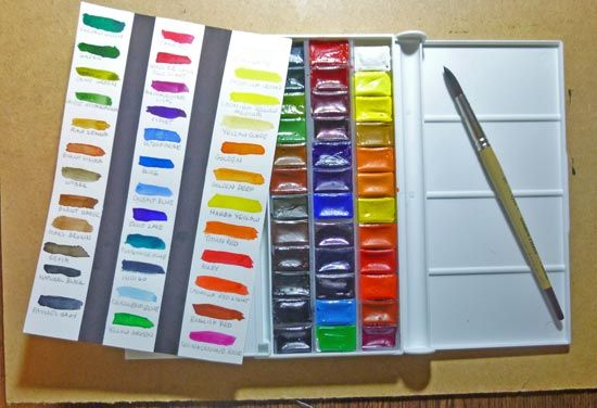 White Nights 48 Pans Wooden Box Set Watercolour Tutorials