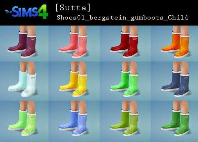 Gumboots for kids at Sutta Sims4 | Sims 4 cc kids clothing