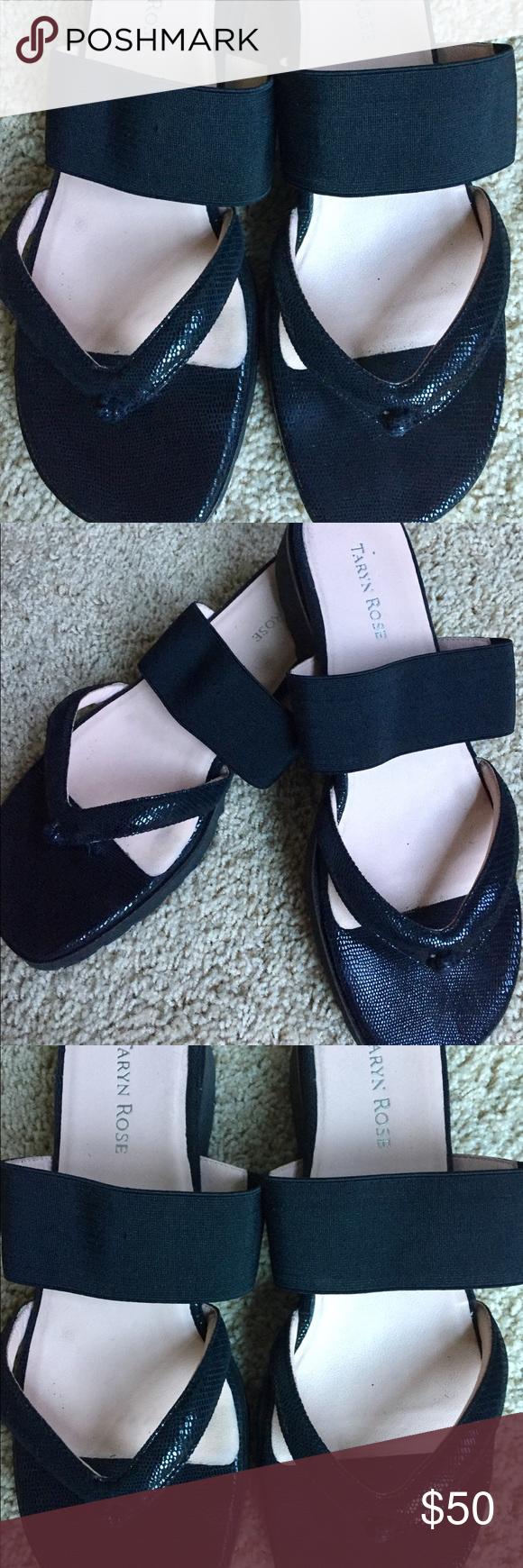 Taryn Rose black thong sandels | Taryn rose, Black leather and Shoes ...