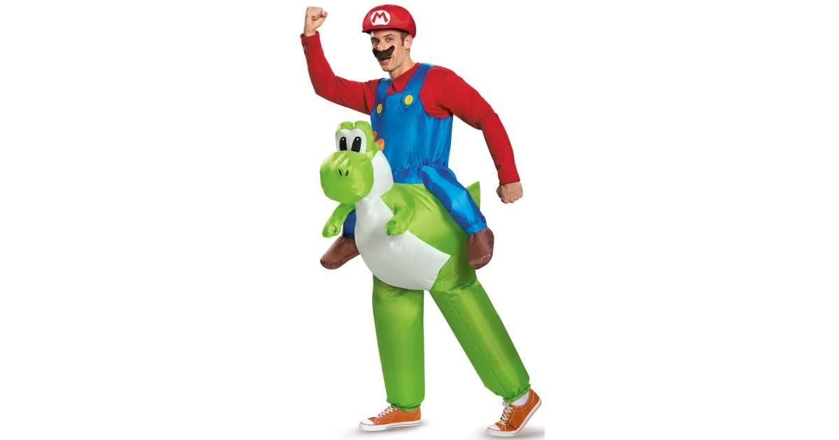 Super Mario Bros Inflatable Adult Mario Riding Yoshi Costume - lowes halloween inflatables