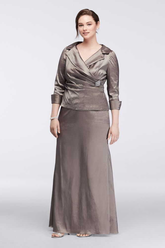 93f4511bc6e Taffeta Plus Size Long Mock Two-Piece Mother of Bride Groom Dress with 3 4  Sleeves - Taupe (Brown)