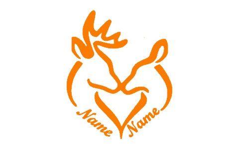 Custom Deer Head Silhouette Heart Monogram Couple Vinyl Car Decal - Country girl custom vinyl decals for trucks