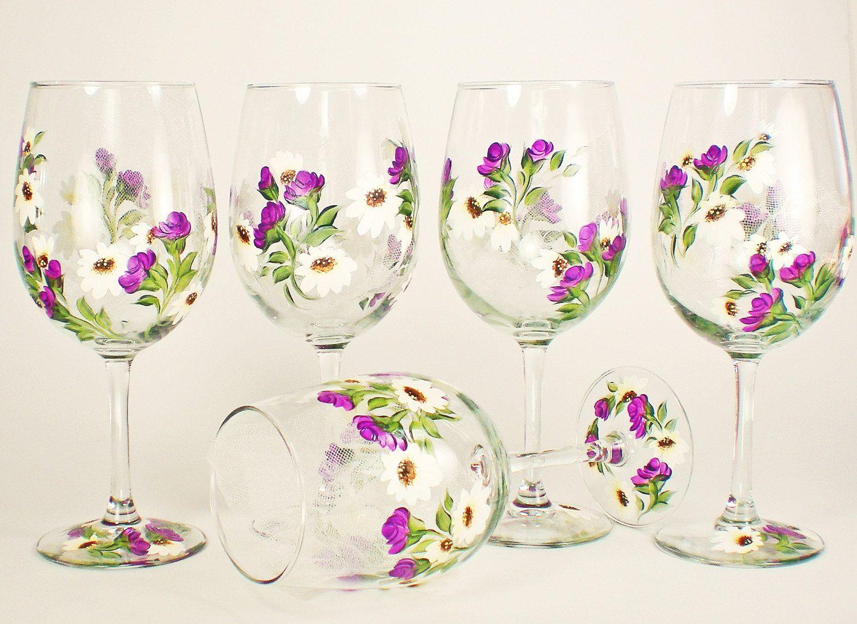 Bridesmaid Wine Glasses - Hand Painted Violet Purple Climbing Roses ...