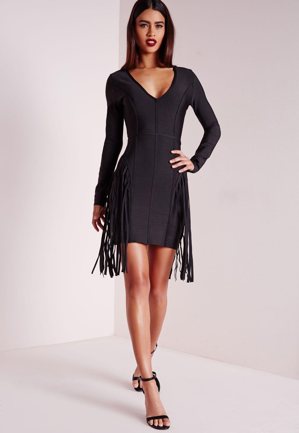 Missguided Premium Bandage Fringe Long Sleeve Bodycon Dress Black Black Long Sleeve Cocktail Dress Long Sleeve Bodycon Dress Black Bodycon Dress Long Sleeve [ 1680 x 1160 Pixel ]
