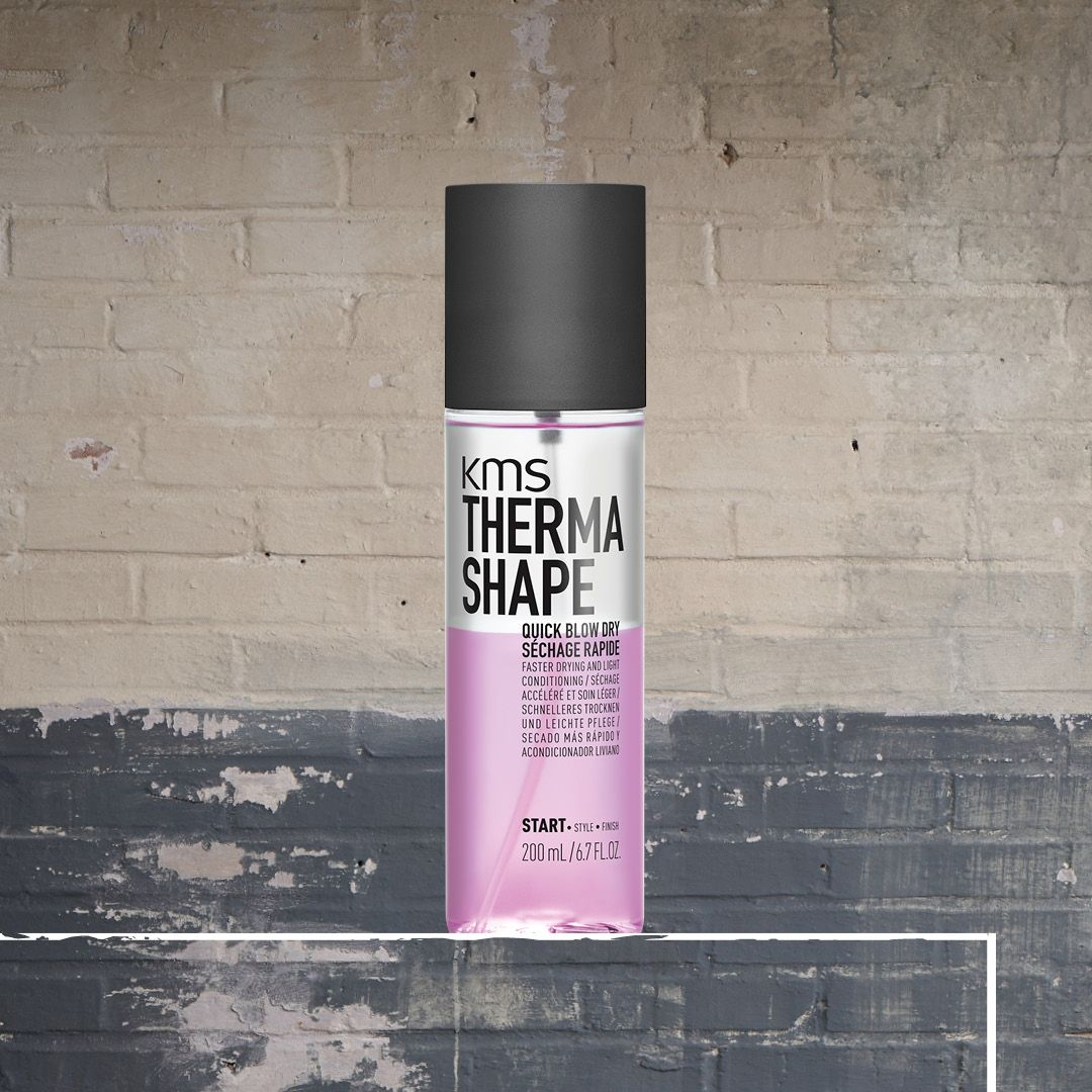 Even if you air-dry their hair, KMS THERMASHAPE Quick Blow Dry speeds up drying time by up to 50% and reduces friction when blowdrying at the same time – so you have more time to create your style. #kmshair #stylematters