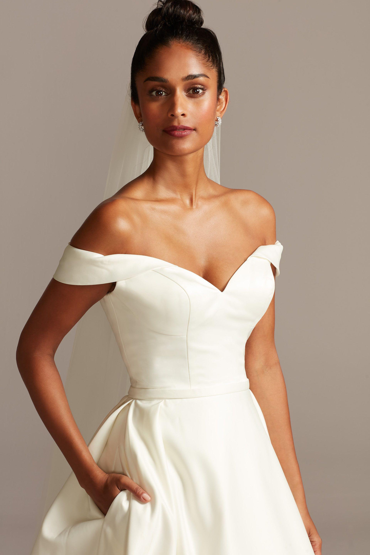 Off The Shoulder Satin Ball Gown Wedding Dress David S Bridal Petite Wedding Dress Ball Gowns Wedding Off Shoulder Ball Gown [ 2880 x 1920 Pixel ]