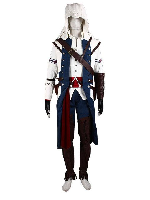 Amazon Com Assassin S Creed Iii 3 Connor Kenway Cosplay Costume White Version Male Large Clothi Assassins Creed Costume Geek Costume Christmas Outfits Women