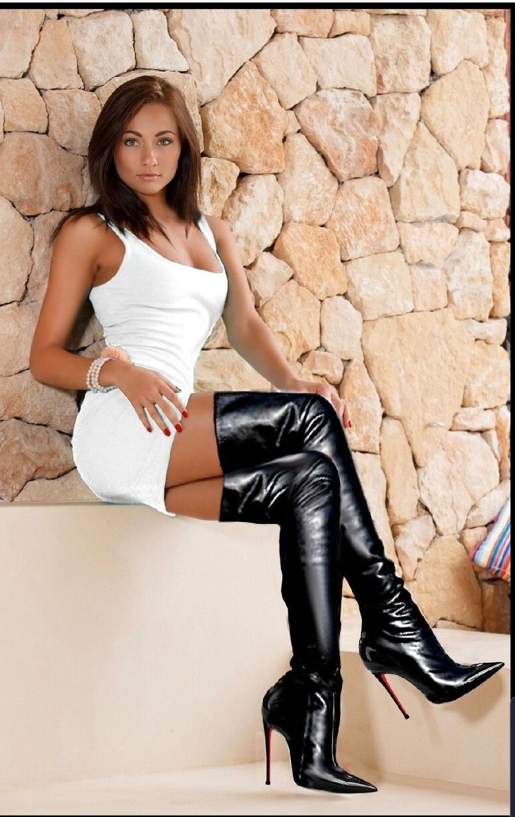 Women In Thigh High Leather Boots