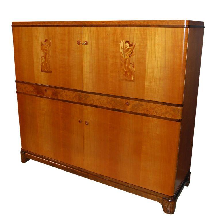 Cool Art Deco Kitchen Cabinets: Swedish Art Deco Intarsia Storage, Bar Cabinet