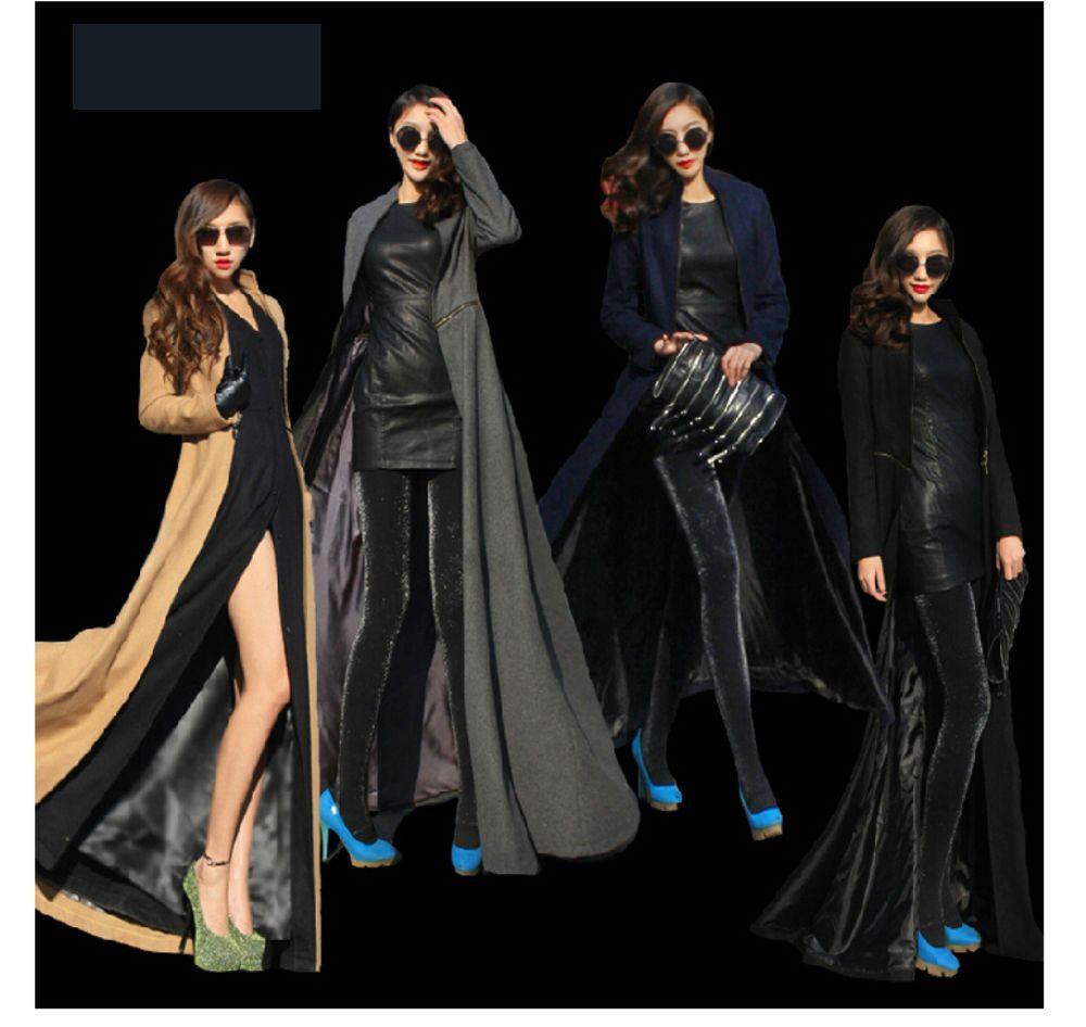 New women full sweep maxi dress woolen trench coat overcoat long