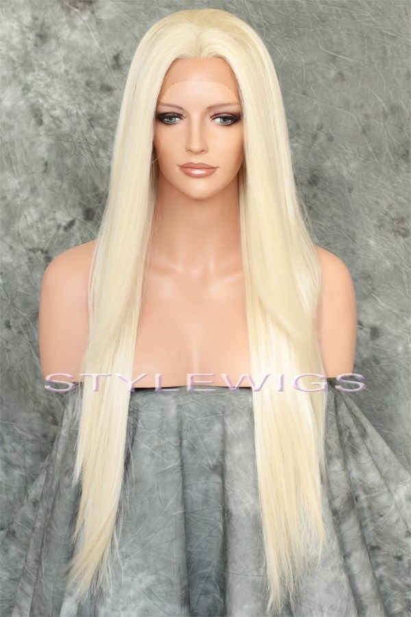Platinum Blonde Long Heat Ok Straight Lace Front Synthetic Wig