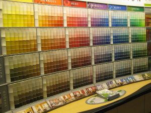Bright, Bold Paint Color Wheel Display