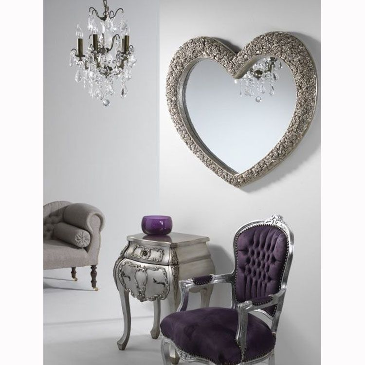 This beautiful, elegant large rose frame heart wall mirror oozes ...