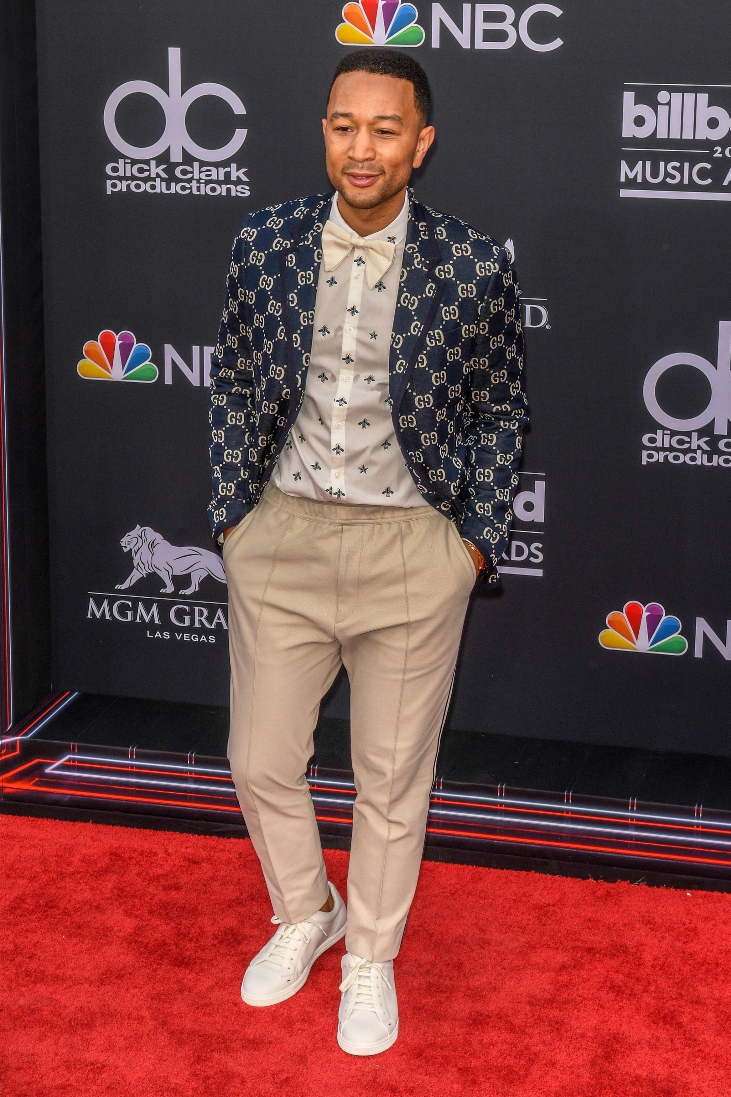 aeff9faf1 John Legend wearing Gucci GG Jersey Single-Breasted Jacket w/ Preppy Patch,  Gucci Bee Star Cotton Duke Shirt, Gucci Cotton Piquet Jogging Pants