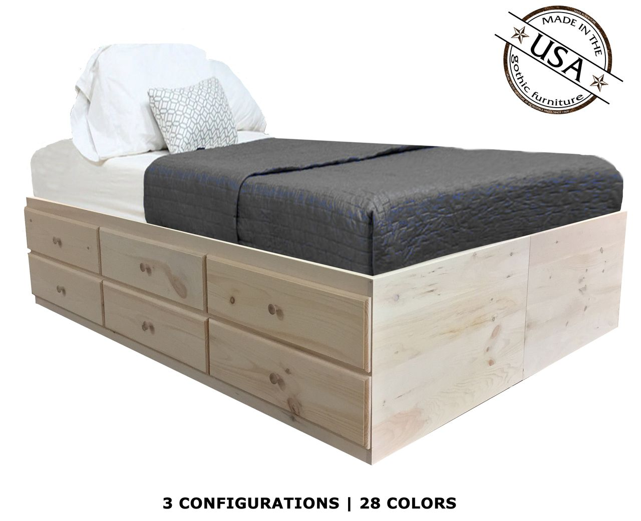 Full Storage Bed Pine Wood Storage Bed Storage Bench Full