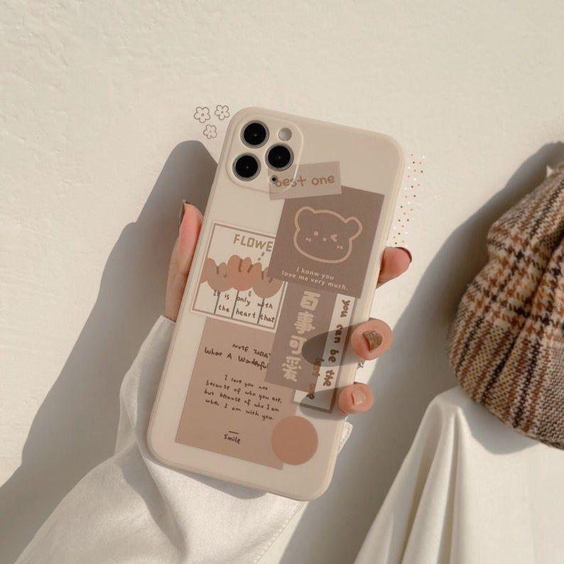Beige Chocolate Bear Flower Doodles Cute Cartoon Collage Art Soft Phone Case | iPhone 7 8 Plus 11 Pro Max 12 Mini X XS XR SE 2020