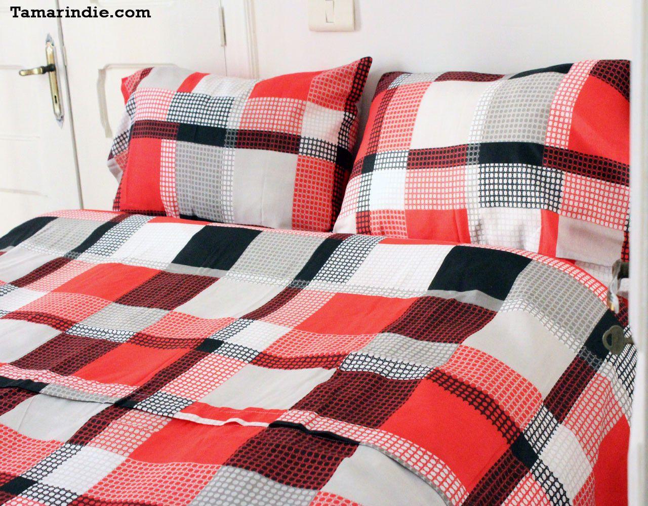 Red Squares Best Value Duvet Bed Set