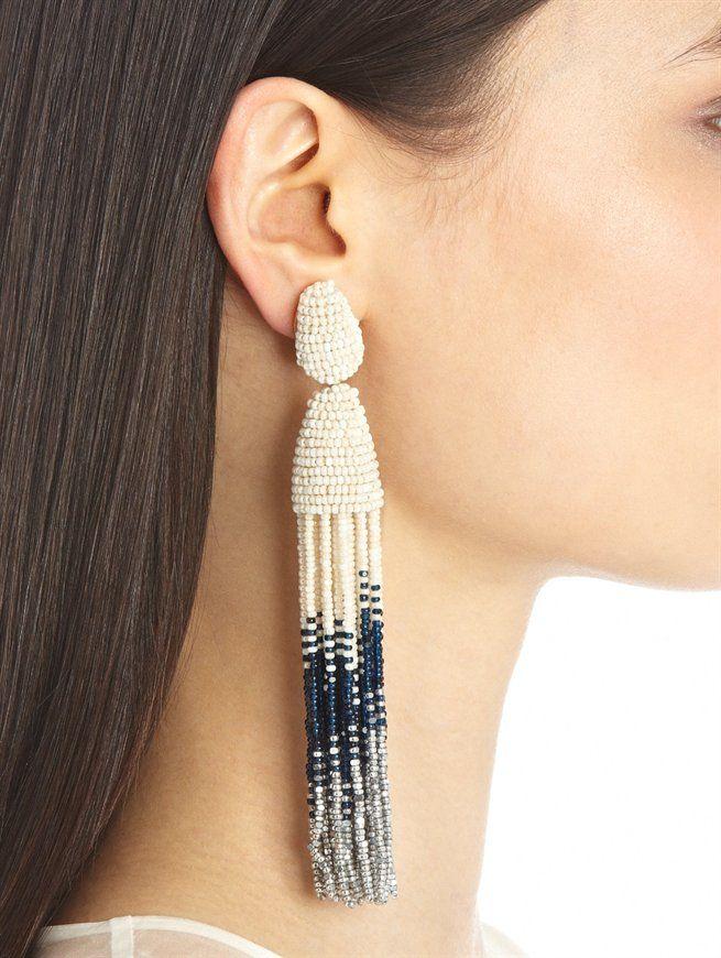 Beaded tassel earrings Oscar De La Renta QnNLmpi