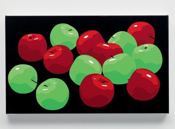 Still life with green and red apples -