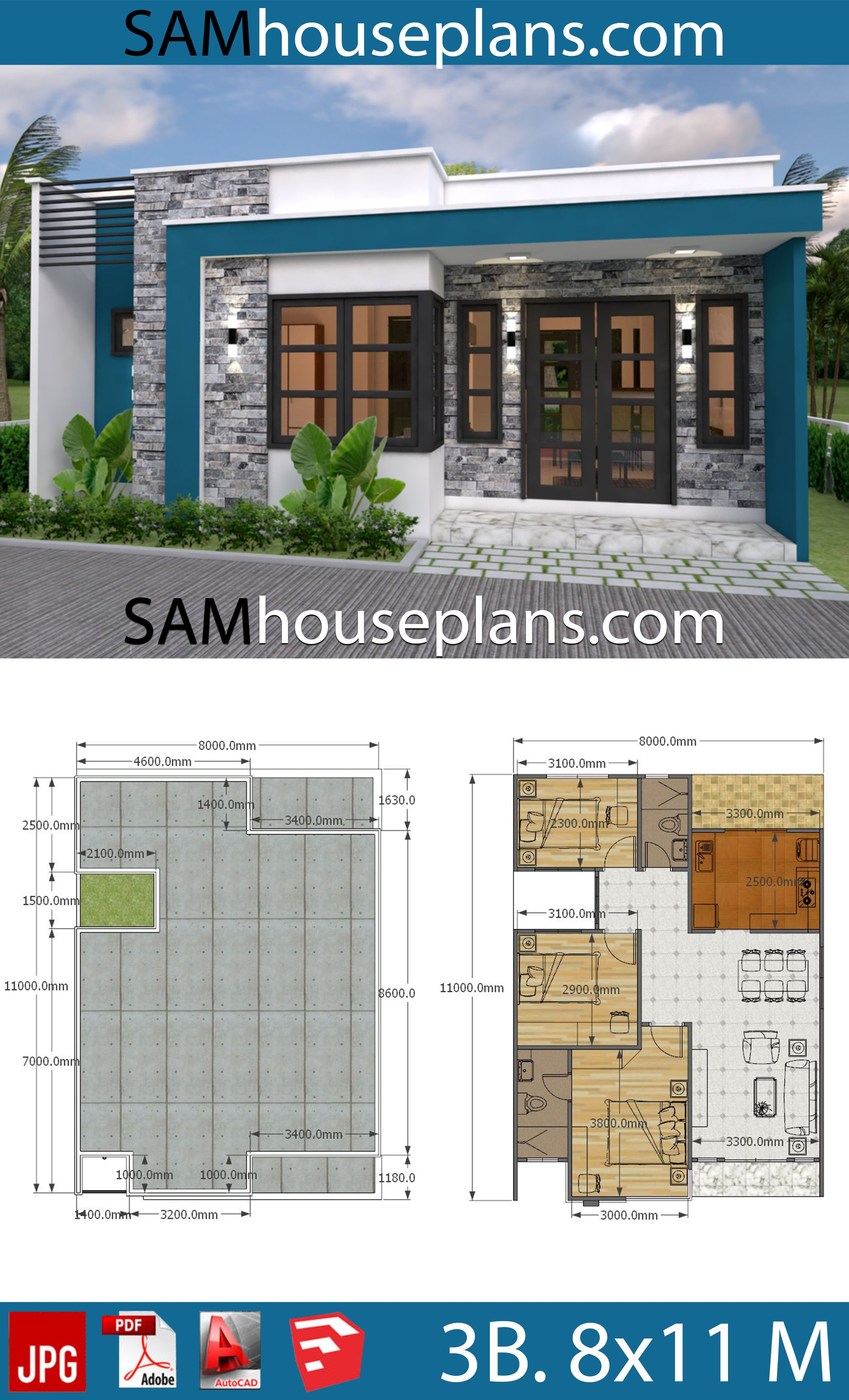 House Plans 8x11 With 3 Bedrooms Full Plans Sam House Plans In 2020 Simple House Plans Affordable House Plans Bungalow House Design