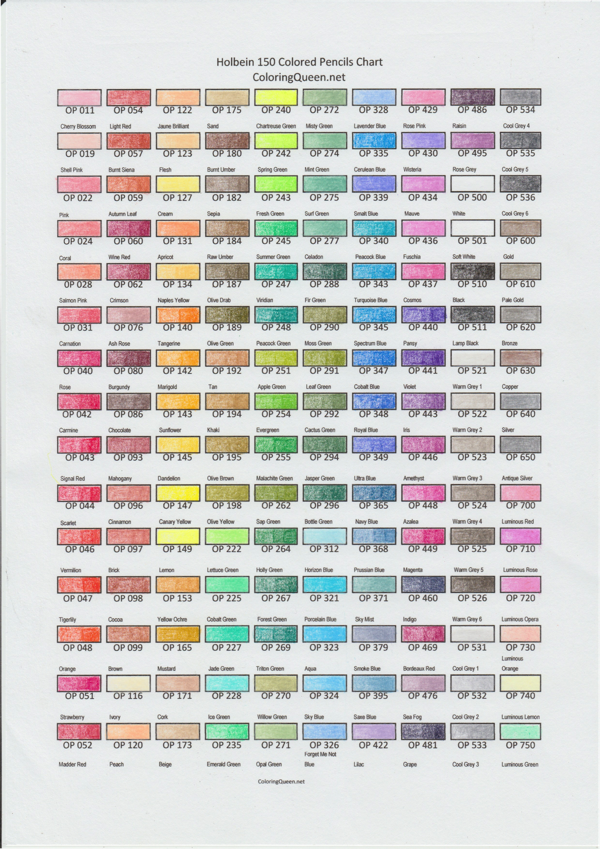 Prismacolor Premier Colored Pencils 150 Chart Coloringsite