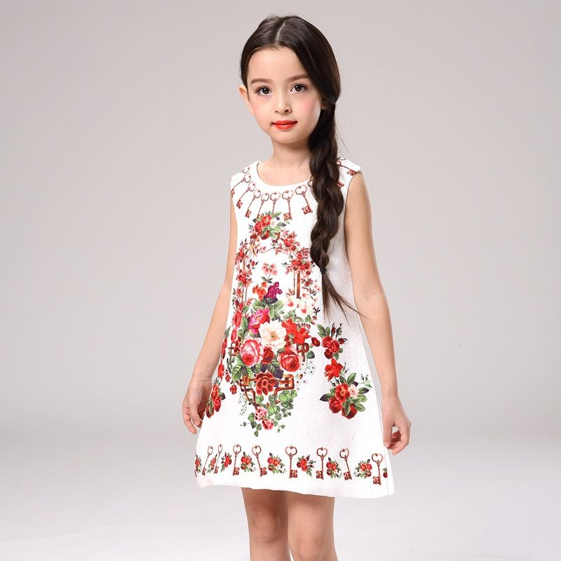 b90716f1d8cc8 2017 SUMMER NEW children clothes girls beautiful flower print dress ...