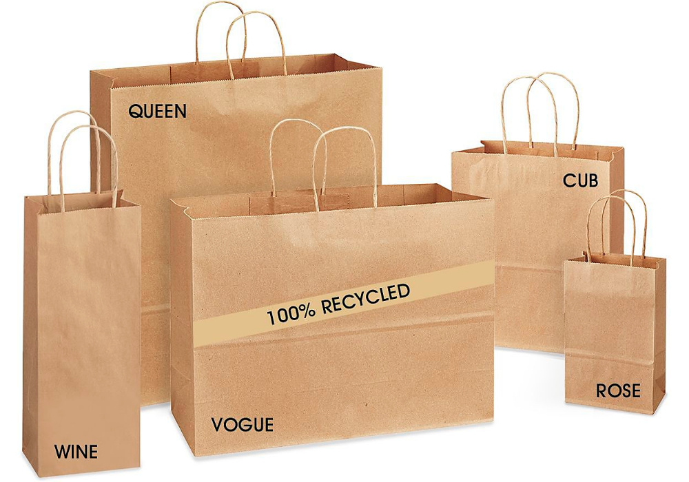 Recycled Paper Bags Recycled Paper Shopping Bags In Stock Uline Recycled Paper Paper Shopping Bag Paper Bag
