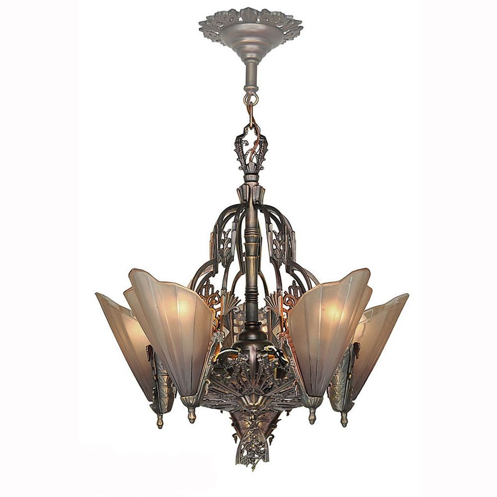 Art Deco Style Chandeliers Antique Reproduction Slip Shade 5 Light 123 SOL 5L In Home Garden Lamps Lighting Ceiling Fans