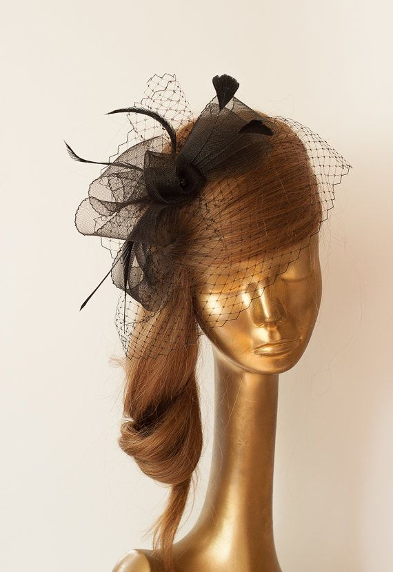 Black Birdcage Veil . Bridal FASCINATOR with Crin