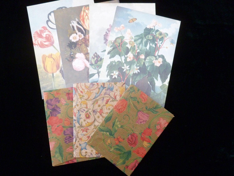 Scrapbook paper england - Four Vintage Floral Postcard Pack Vintage Mixed Media Paper Pack Scrapbooking Papers Vintage Papers For Craft Art