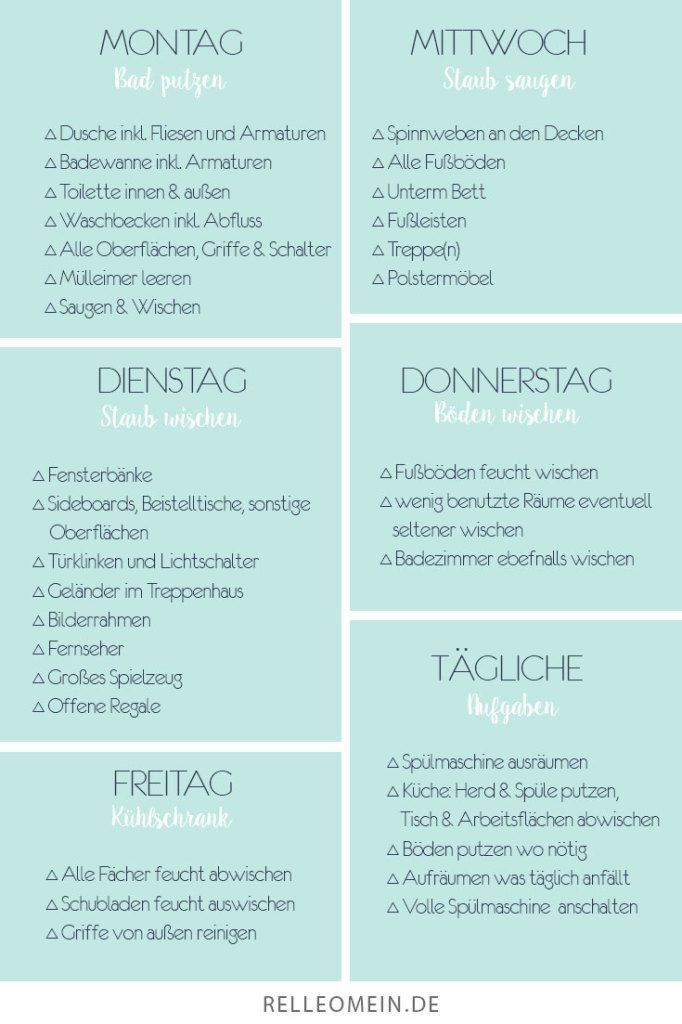 Weekly cleaning plan – cleaning every day for half an hour for a clean room … – tips