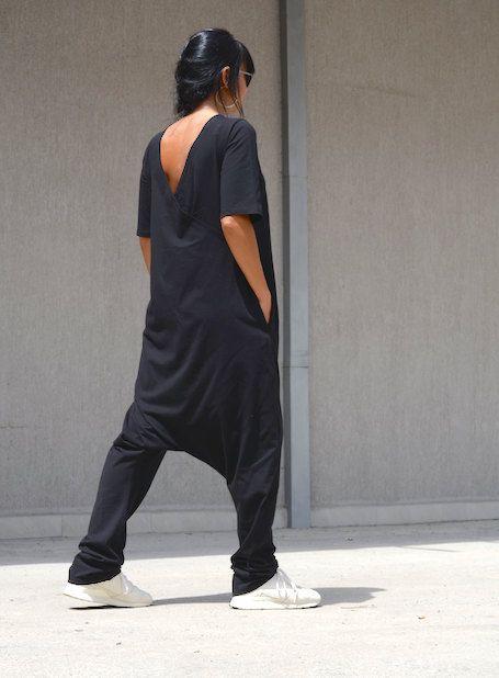 65eab65335 Overall Dress · Drop Crotch · EASTER SALE 15%OFF Loose black jumpsuit Maxi black  jumpsuit Bodycon Jumpsuit