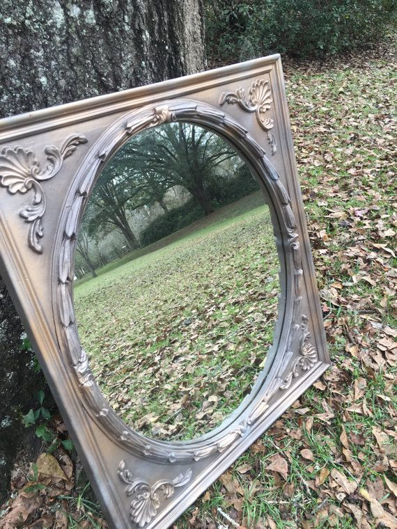 Round Mirror In Square Frame Large Vintage Mirroe By Maggiebleus Ornate Mirror Round Mirrors Rustic Shabby Chic Decor