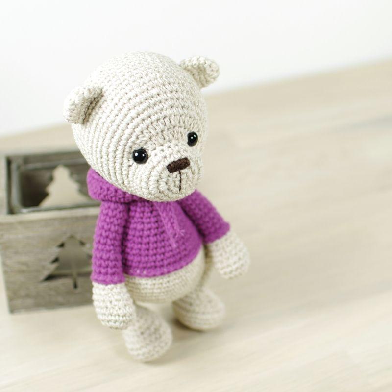 Teddy bear in a hoodie amigurumi pattern by Kristi Tullus | Patrones ...