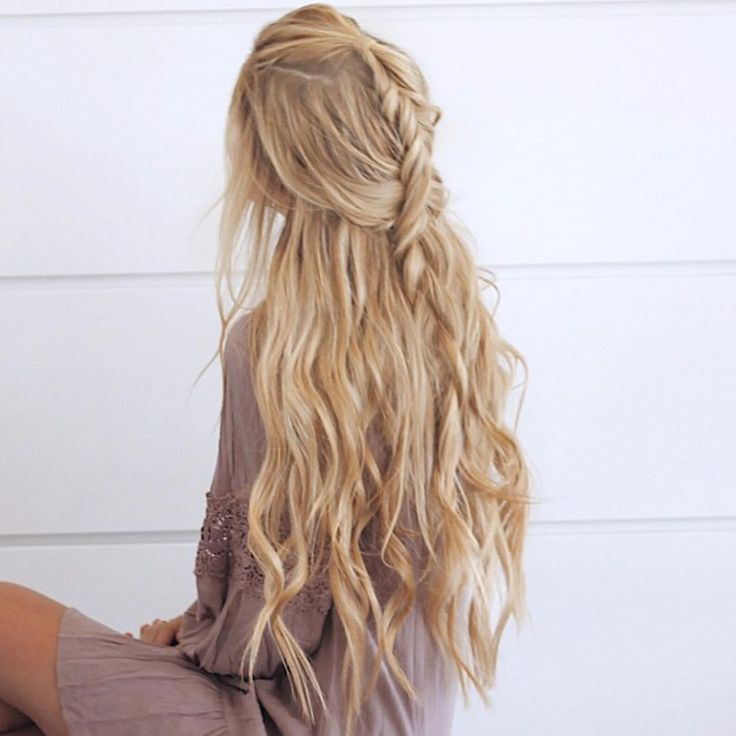 Long Blonde Textured Hair With Braid Long Hair Styles