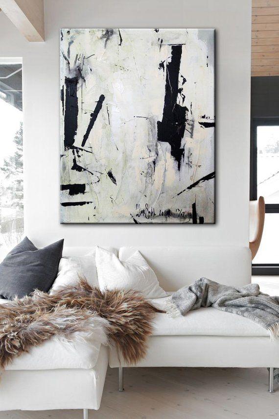 Große abstrakte Malerei auf Leinwand schwarz weißen Wandkunst | Etsy