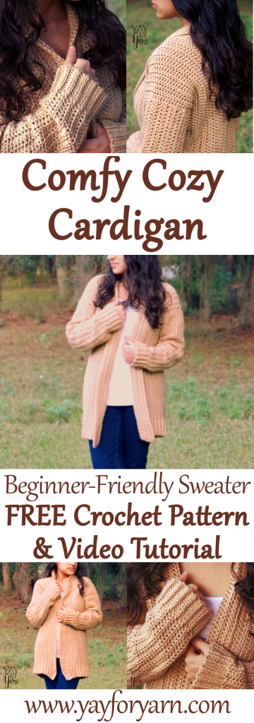 Comfy Cozy Cardigan - Beginner Friendly Crochet Sweater - FREE Pattern #crochetedsweaters