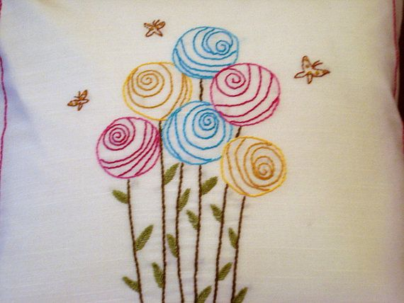 Hand Embroidered Pillow Zippered 14 x by creationsbyarlene on Etsy, $37.00