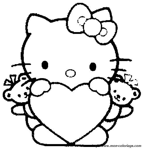 Ausmalbilder Zum Ausdrucken 03 Coloriage Hello Kitty Coloriage Kitty Coloriage Coeur