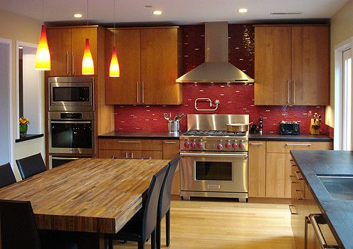 Red Design Pictures Remodel Decor And Ideas Page 4 Dark Wood Kitchen