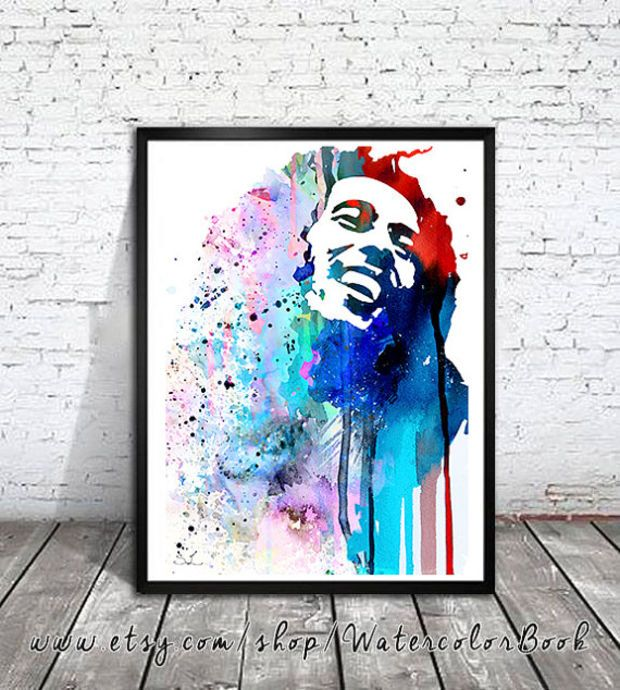 Bob Marley Watercolour Painting Print Watercolor Painting