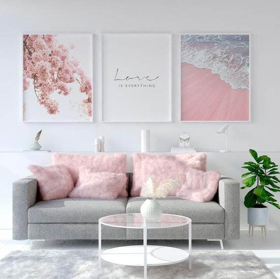 Shade Of Light Pink And Grey Wall Art Gives Color Harmony To Room And Furniture In 2020 Living Room Decor Apartment Pink Living Room Floral Bedroom Decor