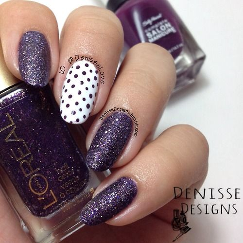 Purple glitter nails with polka dot accent