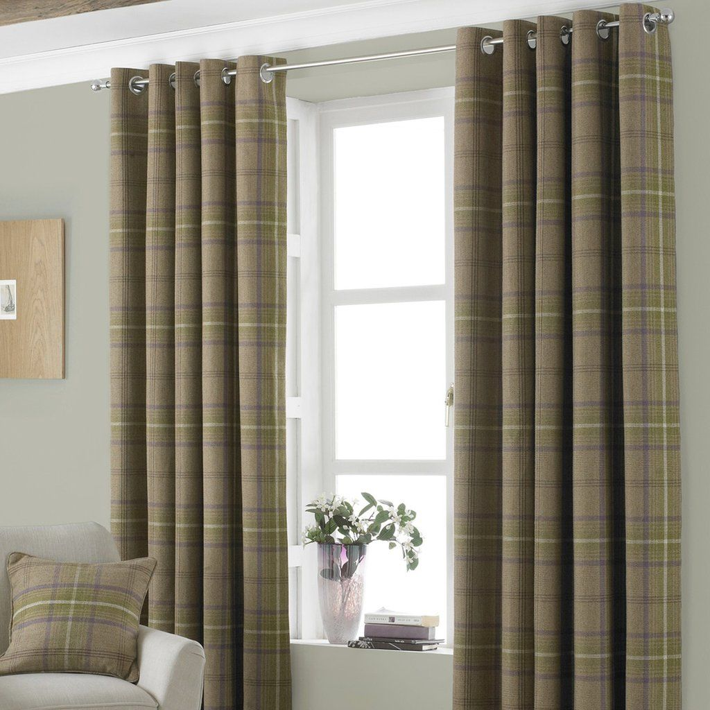 Windsor teal eyelet curtains harry corry limited - Aviemore Plaid Check Eyelet Curtains Beige
