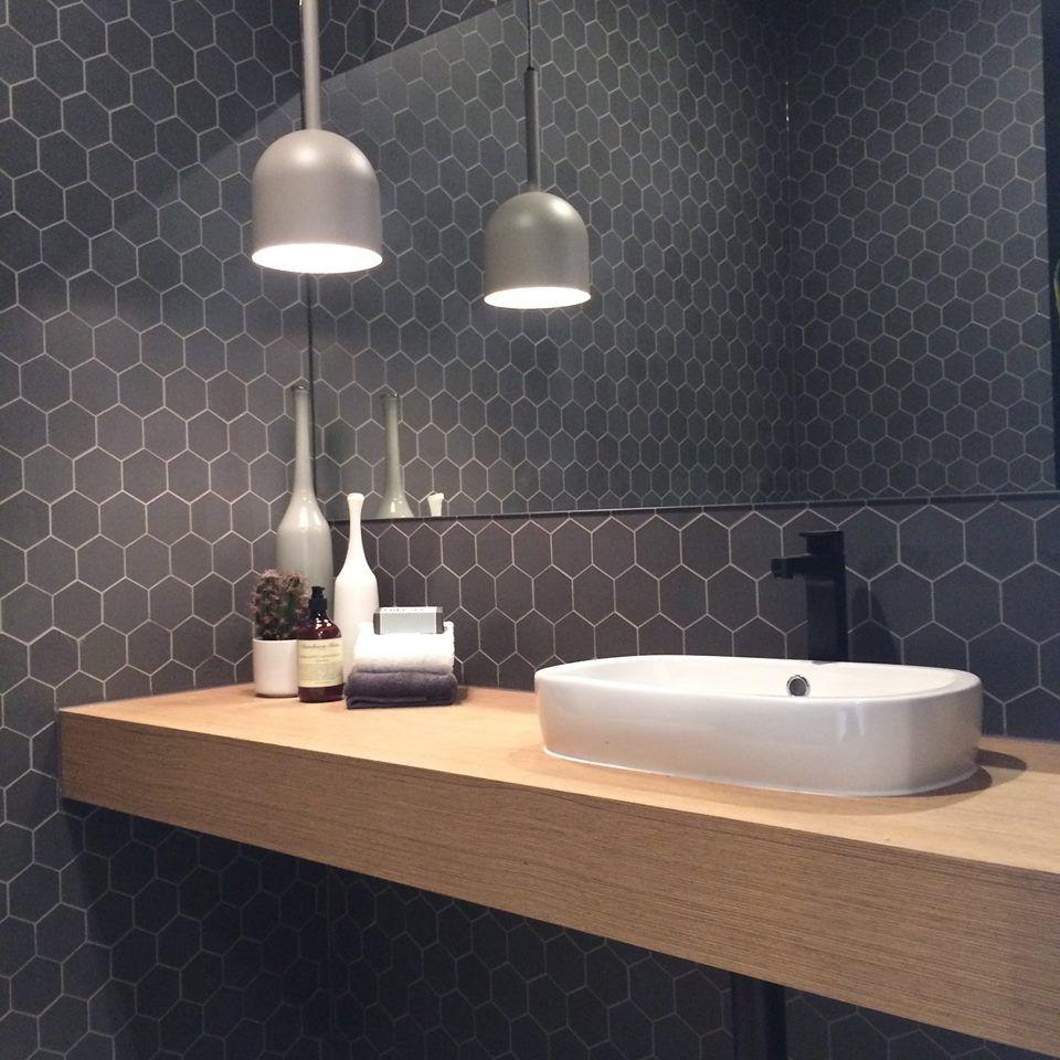 Metricon Powder Room Hexagon Tiles Black Tapware
