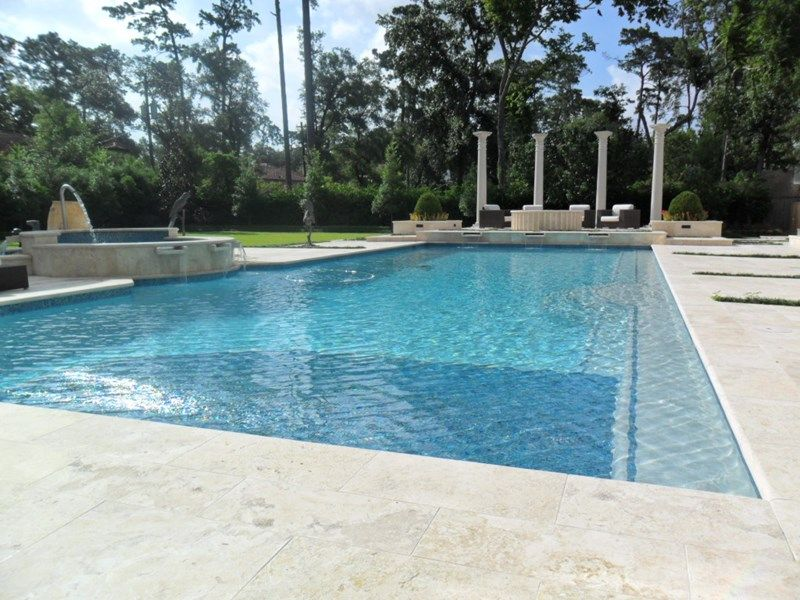 Limestone Pool Deck Luxury Backyard Pool Swimming Pool