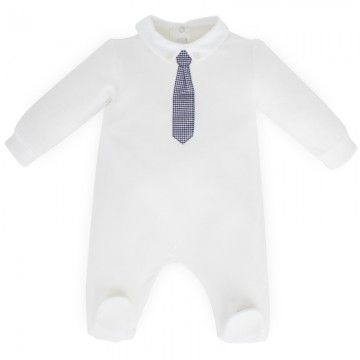 Il Gufo Cream Applique Tie Babygrow