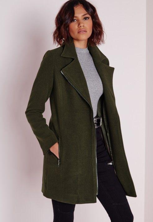 Petite Wool Biker Coat Khaki - Petite - Coats - Missguided ...