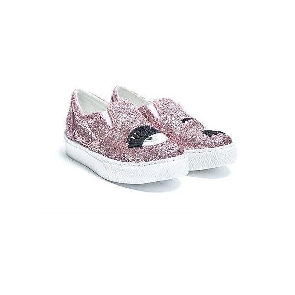 CHIARA FERRAGNI Blink Eye glitter slip on sneakers (£115) ❤ liked on  Polyvore